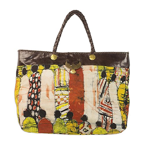 NOVICA Multicolored Leather Accent Batik Linen Tote Bag, 'Cultural Gathering' by NOVICA