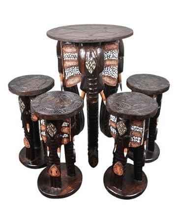 Elefantentisch Mit 4 Hockern, Tisch Mit Sitzen Aus Holz Im Afrika Style In  Form Von