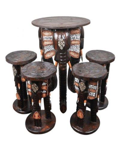 elefantentisch mit 4 hockern tisch mit sitzen aus holz im afrika style in form von - Tisch Afrika Style