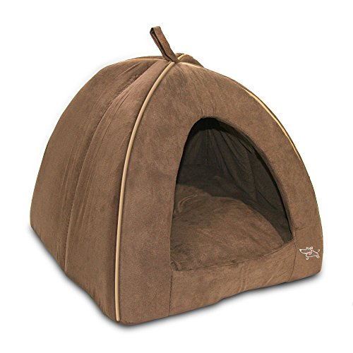Best Pet Supplies Modern Triangular Suede Tent Bed - Dark Brown - Large (Small House Igloo Dog)