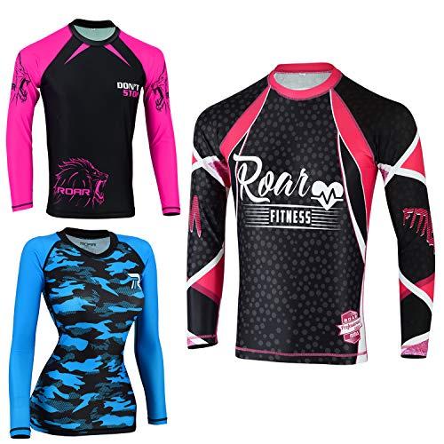 Roar No Gi Full Set Ladies Sports Bra BJJ Leggings MMA Shorts & Grappling Rash Guard Female Fight Wear (PF-Rashguard, Large)