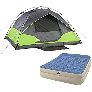 Ozark Trail 4 Person Instant Dome Tent and Queen Airbed