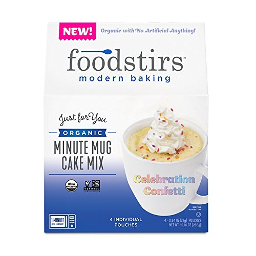 Foodstirs Organic, Non GMO Minute Mug Cake Mix Celebration Confetti Cake, 2.54 Ounce (Pack of 4)