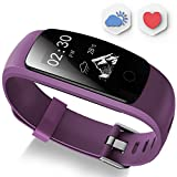 Fitness Tracker - Ausun 107 Plus Heart Rate Monitor Waterproof Activity Tracker Calories Counter Smart Wristband GPS Pedometer Watch Sports Bracelet with Sleep Monitor - Purple