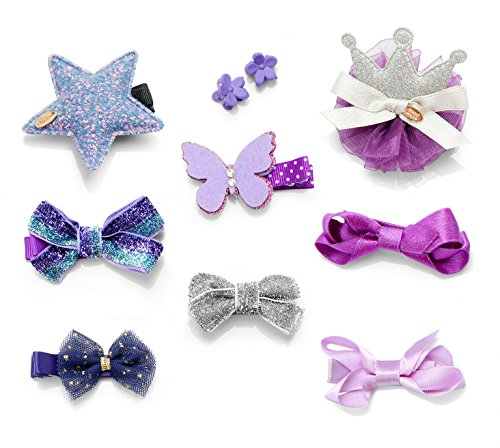 10pcs Toddler Girl Hair Clips Barrette Hairpins Baby Kids Cute Bowknot Crown Star Hair Claws Headdress Bows Accessories for Photography Pops Costume Party Birthday Gift (Purple) - Purple Satin Bow