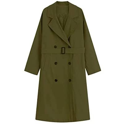 MOCRIS Trench Coats for Women, Double-Breasted Mid-Length Overcoat Windbreaker with Belt Windbreaker Green: Clothing