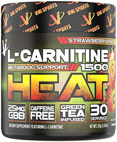 VMI Sports L-Carnitine 1500 Heat Powder, Extreme Fat Burner & Thermogenic Weight Loss Support, Improve Energy, Sweat & Fat Metabolism, Caffeine Free, Fat Burner for Men & Women, Strawberry Kiwi 30sv