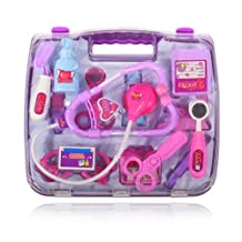 Easyinsmile 15pcs/set Kids Pretending Doctor Medical Kit Role Play Classic Toys for Child Gift (Purple)