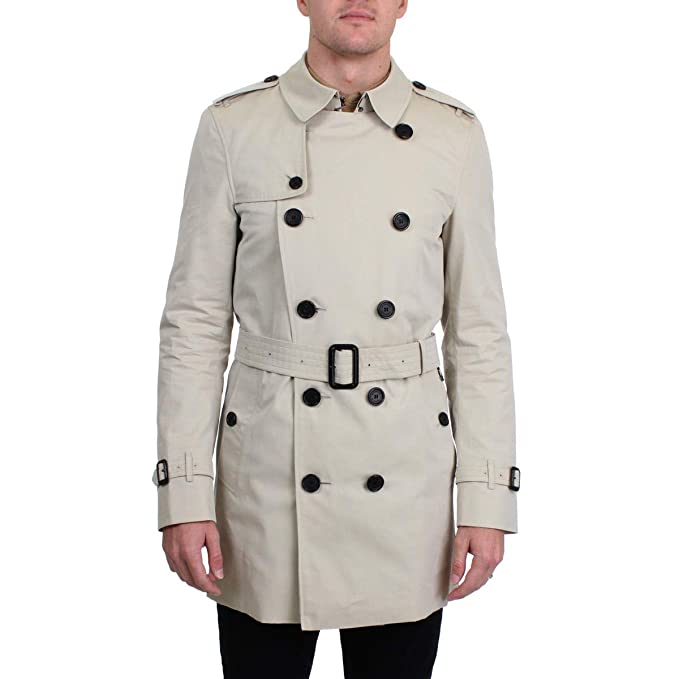 BURBERRY Mens Kensington Lightweight Mid-Length Trench Coat Gray M