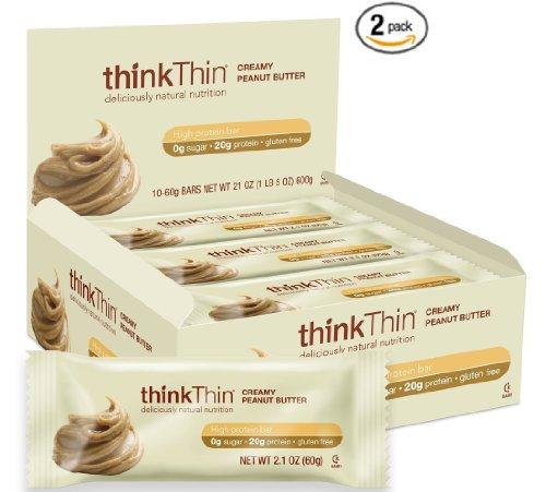 thinkThin crémeux au beurre d'arachide Barres aux Protéines 60g, 10 Count Box, Pack 2