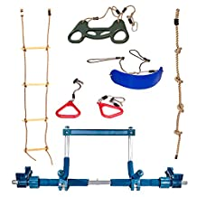 Deluxe Indoor Playground with Indoor Swing, Plastic Rings, Trapeze Bar, Climbing Ladder, and Swinging Rope