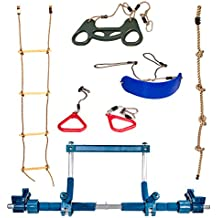 Gym1 Deluxe Indoor Playground with Indoor Swing, Plastic Rings, Trapeze Bar, Climbing Ladder, and Swinging Rope …