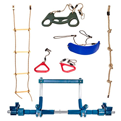Gym Deluxe Indoor Playground with Indoor Swing, Plastic Rings, Trapeze Bar, Climbing Ladder, and Swinging Rope