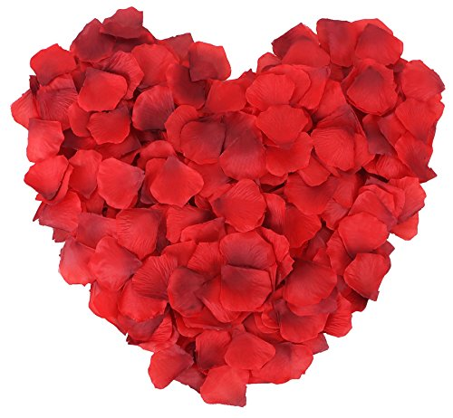 1000 Pcs Silk Artificial Rose Petals Wedding Party Decorations, Red+Dark Red - Dark Blue Rose