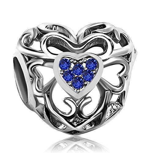 - JMQJewelry Love Heart Blue Birthstone September Charm Beads for Bracelets Anniversary's Day