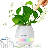 Smart Music Flower Pot, [DigitBay] Touch Leaf to Play Piano Flowerpot, Wireless Bluetooth Speaker, Office Desk Decor, LED Night Light Rechargeable Planter (without Plant)