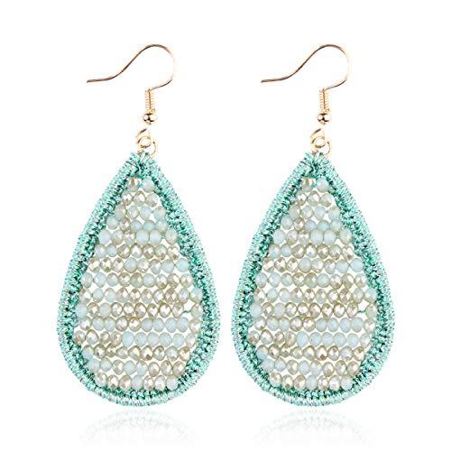 Bohemian Beaded Statement Earrings - Lightweight Sparkly Crystal Teardrop Dangle, Rainbow Marquise, Multi Color Oval Drop, Pearl Hoops (Teardrop Crochet - Turquoise)