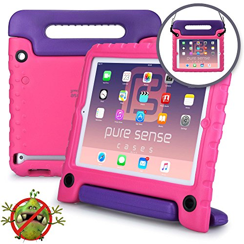 Pure Sense Buddy [Anti-Microbial Kids Case] Child Proof case for Samsung Tab A 10.1 | Rugged Cover Stand, Handle, Shoulder Strap | SM-T580 T585 -