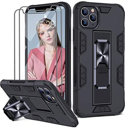 JAME Invisible Foldable Case for iPhone 11 Pro Case with [2 pcs] Glass Screen Protector, Slim Fit Case Protective Phone Case Cover with Kickstand for Men Women Hard PC + Soft Silicone TPU, 5.8″ Black