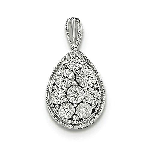 Pendentif en Or Blanc Poli 14carats Diamant
