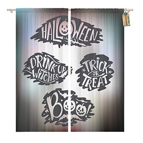 Golee Window Curtain Happy Halloween Signs Lettering Holiday