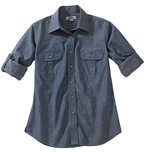 Edwards Garment Women's Roll Sleeve Button Shirts, Chambray Blue, XXS