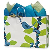 Blue Bird Berries Paper Shopping Bags - Vogue Size - 16 x 6 x 12in. - 100 Pack