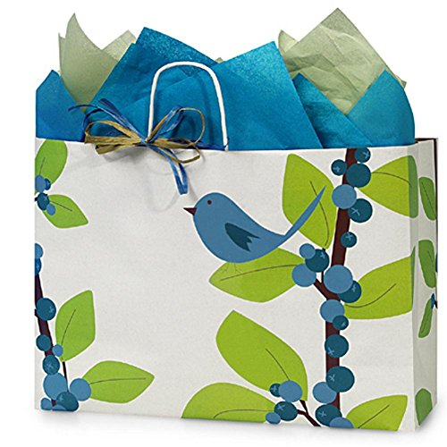 Blue Bird Berries Paper Shopping Bags - Vogue Size - 16 x 6 x 12in. - 100 Pack by NW