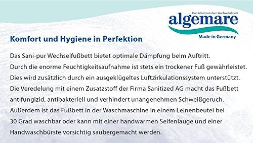 Algemare Damen Pantolette Asche Nubuk Keilpantolette mit Sani-pur Wechselfußbett Made in Germany 14462_0606 Freizeitschuhe, Größe:40