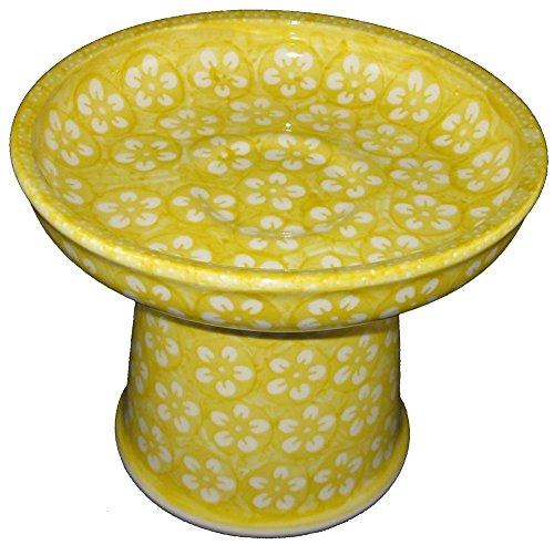 polish-pottery-raised-stoneware-cat-small-dog-wet-food-dish-unikat-j8zo-yellow-blossom