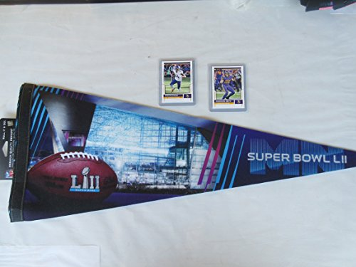 SUPER BOWL 52 MINNESOTA PREMIUM FELT PENNANT #2 PLUS 2 COLLECTIBLE PLAYER CARDS (MINNESOTA CARDS OR ANY OTHER NFL TEAM CAN BE ORDERED) (Premium Pennant Felt)