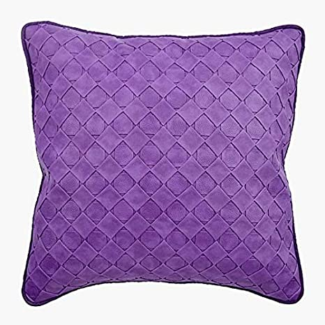 Amazon Com Luxury Purple Decorative Cushion Cover Home Decor 16x16 Inch 40x40 Cm Faux Leather Fabric Pillow Covers Solid Color Checkered Textured Modern Weave Kitchen