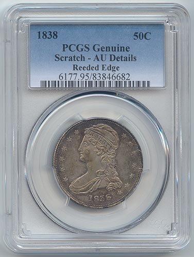 1838 Capped Bust Reeded Edge Half Dollar AU Details PCGS