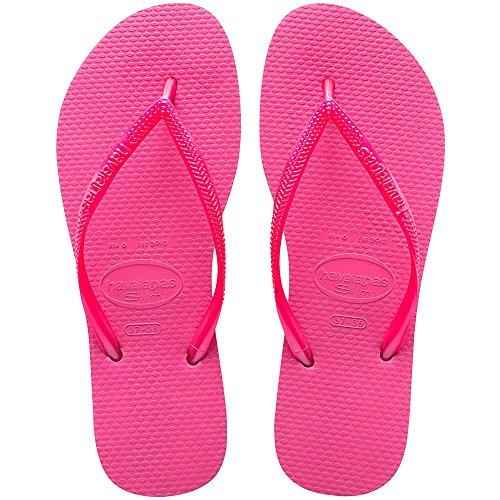 Havaianas Women's Slim Flip Flop Sandal, Shocking Pink/Shocking Pink, 7-8 M US (Havaianas Pink)