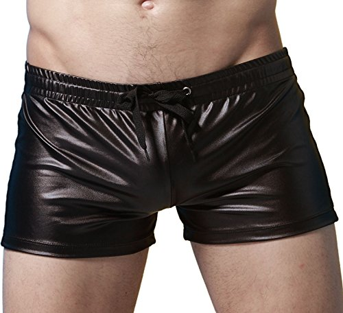 IYUNYI Men's Imitation Leather Swim Trunk Boxer Shorts (L, Black) (Leather Shorts Men)