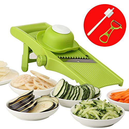 Valuetools Adjustable French Fry Cutter - Mandoline Silcer for Cheese, Onion, Potato Chips, Lemon with Cleaning Brush and Vegetable Peeler