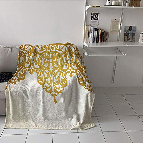 Children's blanket Digital Printing Blanket for Sofa Couch Bed (60 By 62 Inch,Antique Decor,Victorian Style Medieval Motifs with Classic Baroque Oriental Decorating Shapes Print,Golden Cream)