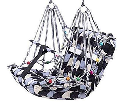 VIXERA® Cotton Swing Chair for Kids Baby's Children Folding and Washable 1-8 Years with Safety Belt – Home, Garden Jhula…