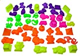 50 Piece Deluxe Kinetic Sand Molds Set - Safari Animals, Mini Castles and Geometric Shapes (Sand not included) Compatible with Sands Alive!, Kinetic Sand, Brookstone Sand, Moon Sand, Any Molding Sand