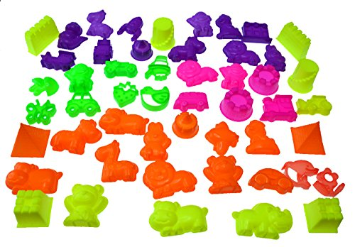 50 Piece Deluxe Sand Molds Set - Safari Animals, Mini Castles and Geometric Shapes (Sand Not Included)
