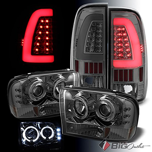 F550 Projector Headlights (For 1999-2004 Ford F250/F350/F450/F550 Smoked Halo Projector Headlights + Light-Bar LED Tail Lights 2000 2001 2002 2003)