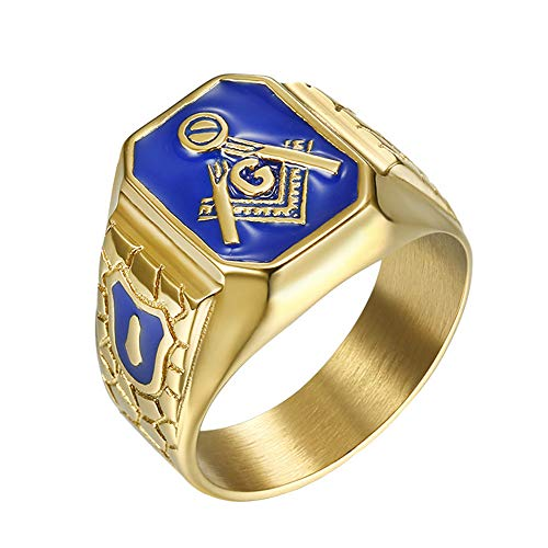 IFUAQZ Men's Stainless Steel Gold Plated Freemason...