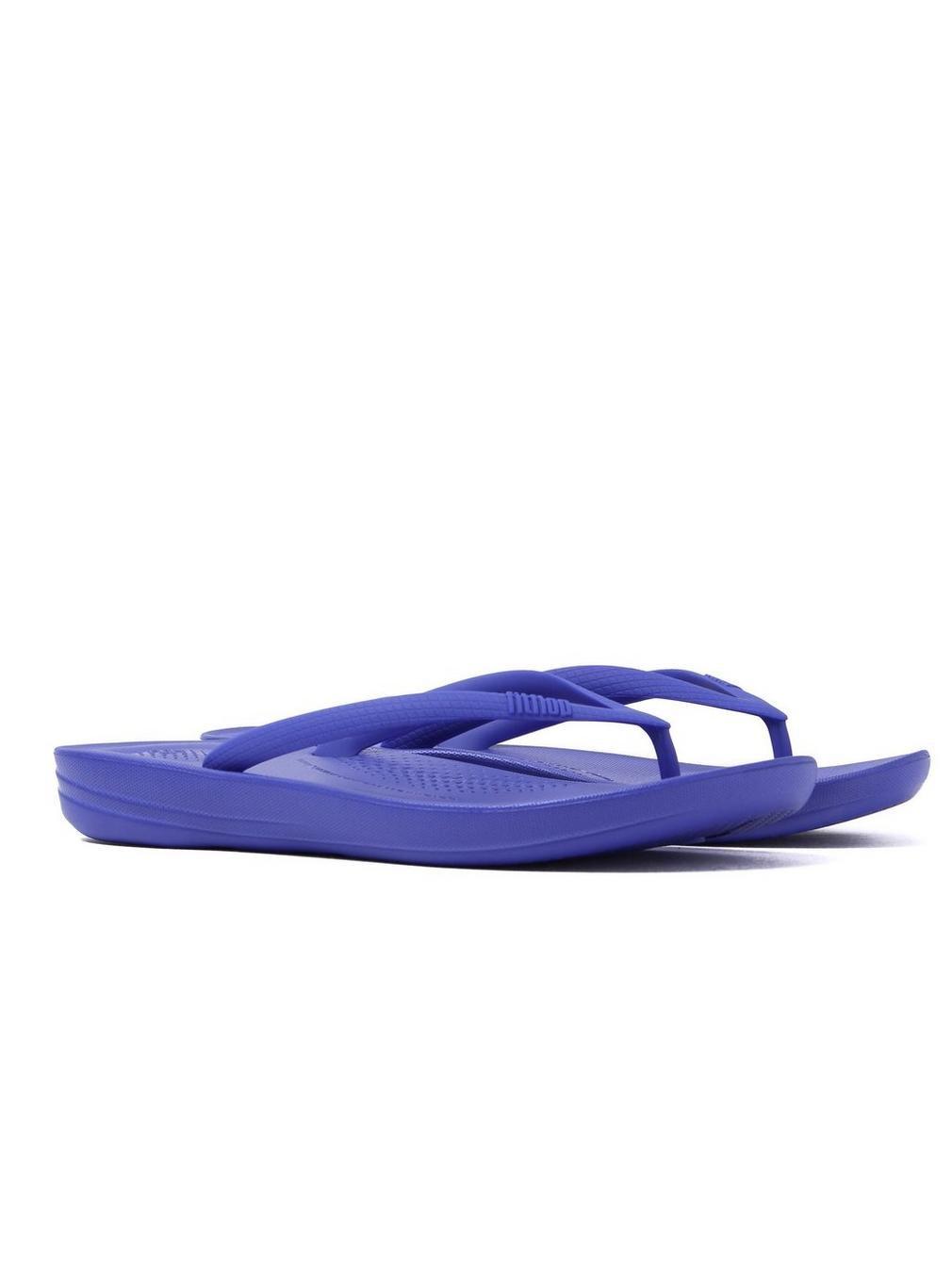 FitFlop Damen Iqushion Ergonomic Flip-Flops Peeptoe Sandalen, Gold  36 EU|Blau