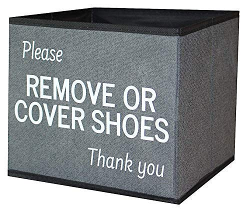 Shoe Cover Box | Disposable Shoe Bootie Holder for Realtor Listings and Open Houses | Please Remove or Cover Shoes Bin -