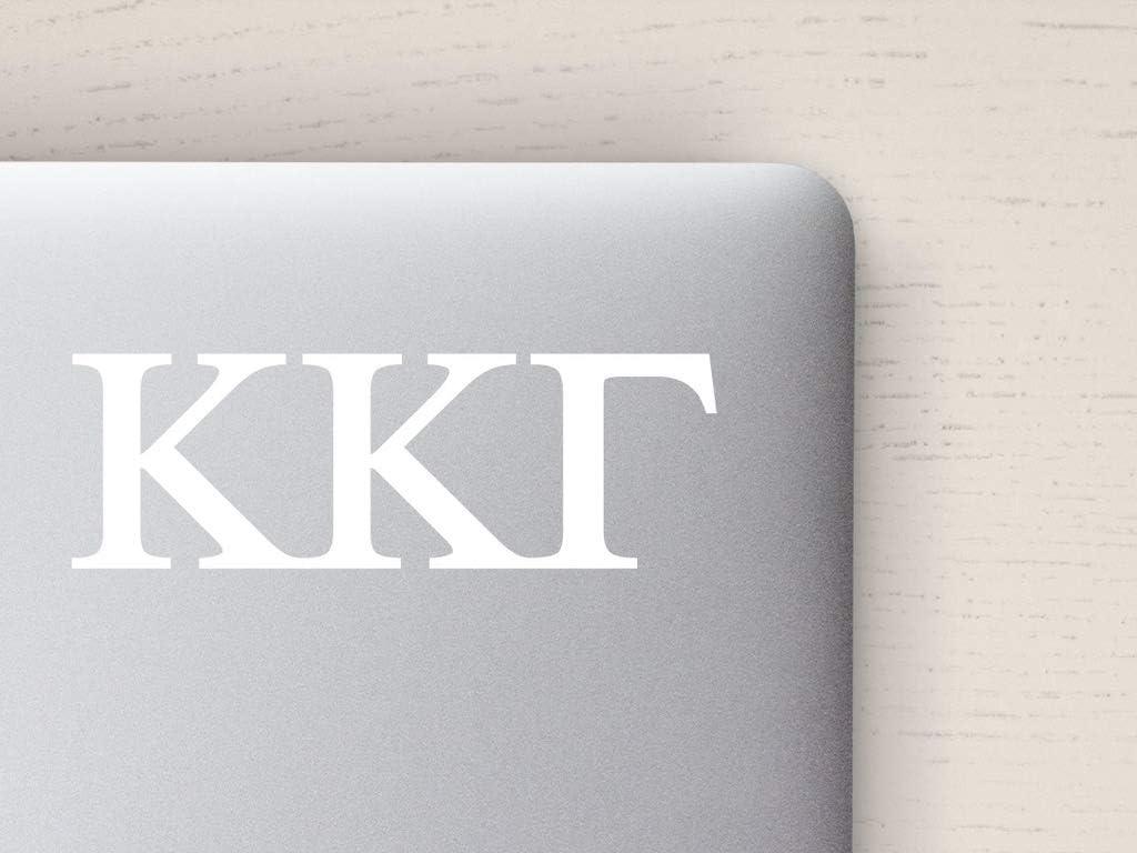 Kappa Kappa Gamma Computer Decal, White Greek Letters, 2.0