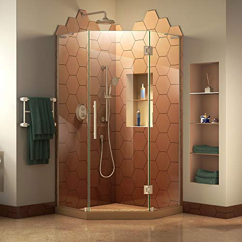 Neo Angle Shower Unit - DreamLine Prism Plus 38 in. x 72 in. Frameless Neo-Angle Hinged Shower Enclosure in Brushed Nickel