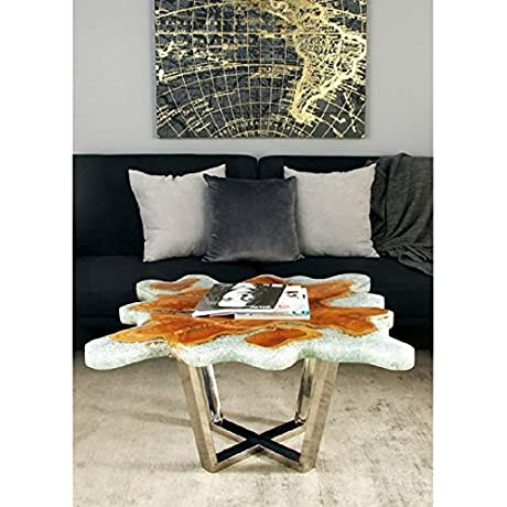 32 Width Teak Top Coffee Table W Stainless Steel Base Frame Curved Abstract Natural Shape Table Top 32W X 12D X 18H In Clear Resin Solid Teak Living Room Accent Table Free Ebook