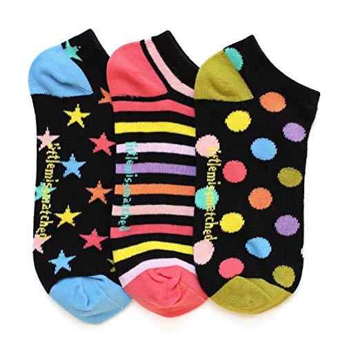 LittleMissMatched Black Zany Liner Socks, Dots Stripes Stars - 3 Socks (Adults 3-10, Black)