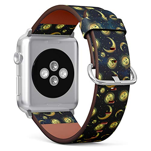(Boho Chic Pattern with Crescent Moon, Sun and Stars Over Blue Night Sky) Patterned Leather Wristband Strap for Apple Watch Series 4/3/2/1 gen,Replacement for iWatch 42mm / 44mm Bands