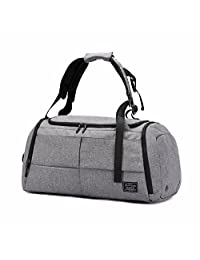 Anti-Thief Gym Bags 55L Canvas Travel Duffel Bag Waterproof Travel Bag with Shoes Compartment (Grey)